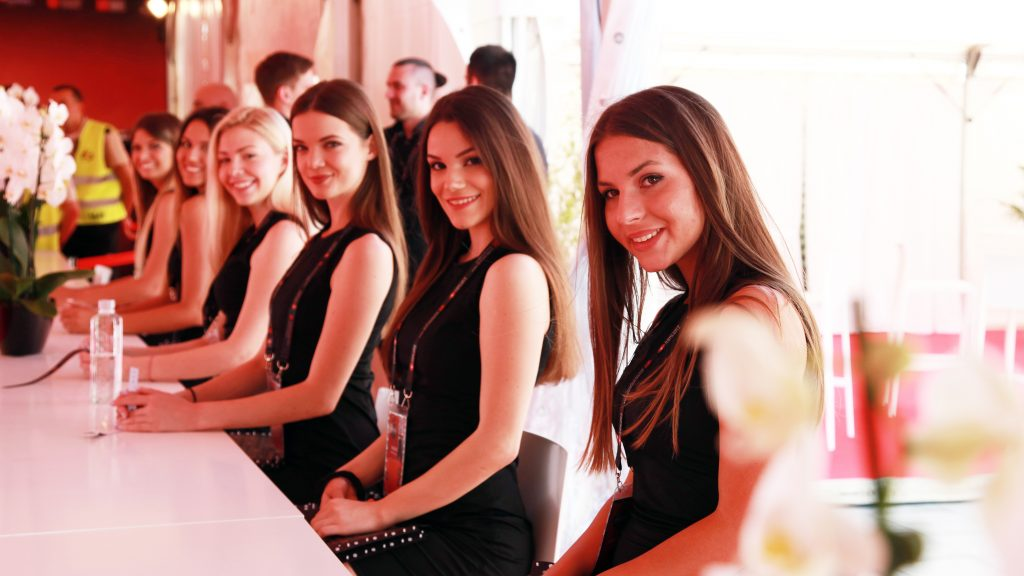 Euroleague Final Four 2018 - hostesses at the welcome desk