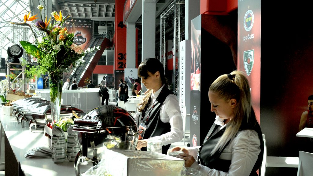 Euroleague Final Four at Stark Arena in Belgrade - catering staff preparing the buffet