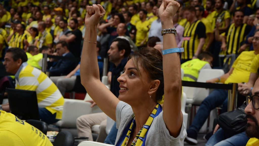 Cheering fans during the match at Euroleague Final Four in Belgrade in 2018