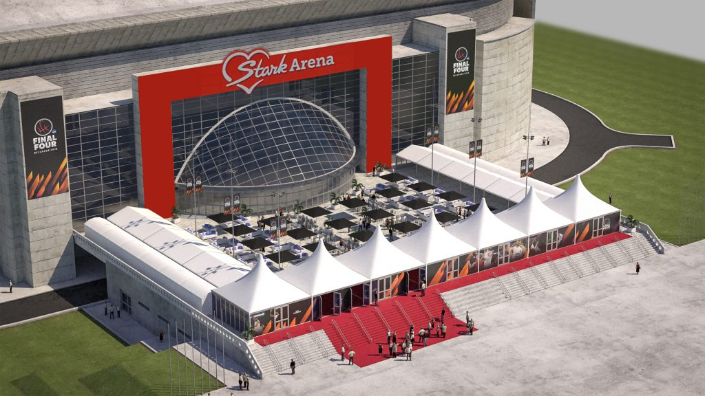 3D render of hospitality area of Euroleague Final Four at Stark Arena in Belgrade