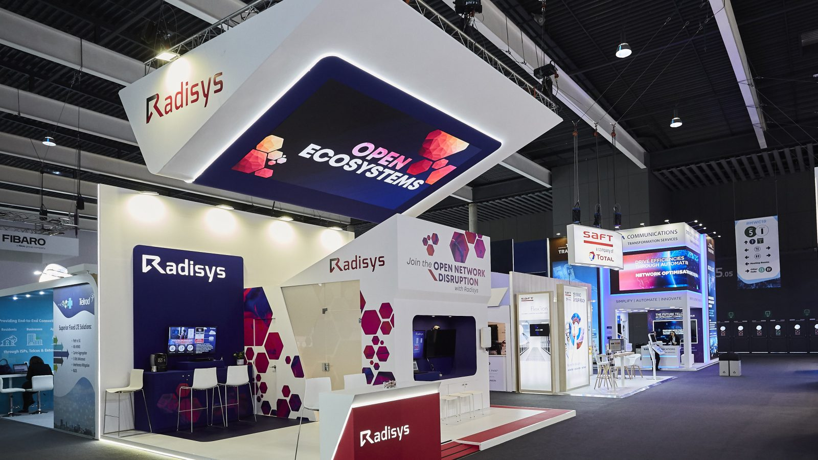 Modern design of Radisys stand at MWC 2019