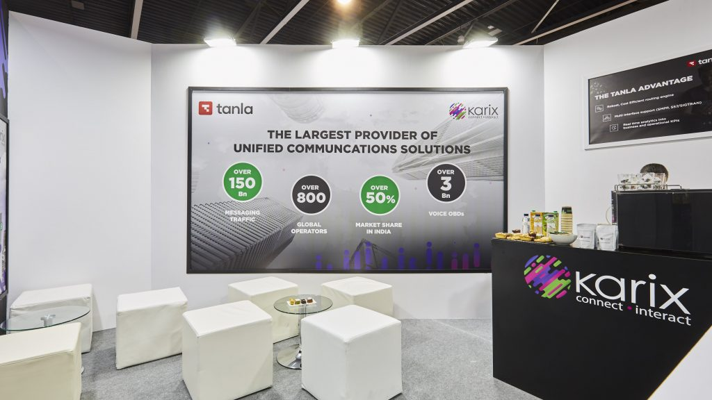 Karix booth at MWC 2019 - upstairs lounge area