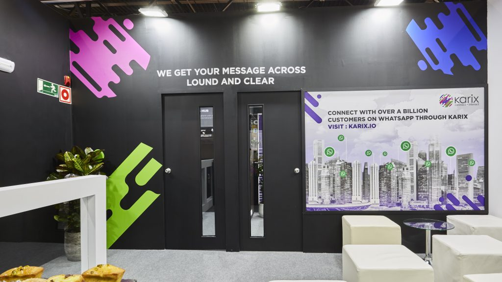 Karix booth at MWC 2019 - printed graphics in the lounge area