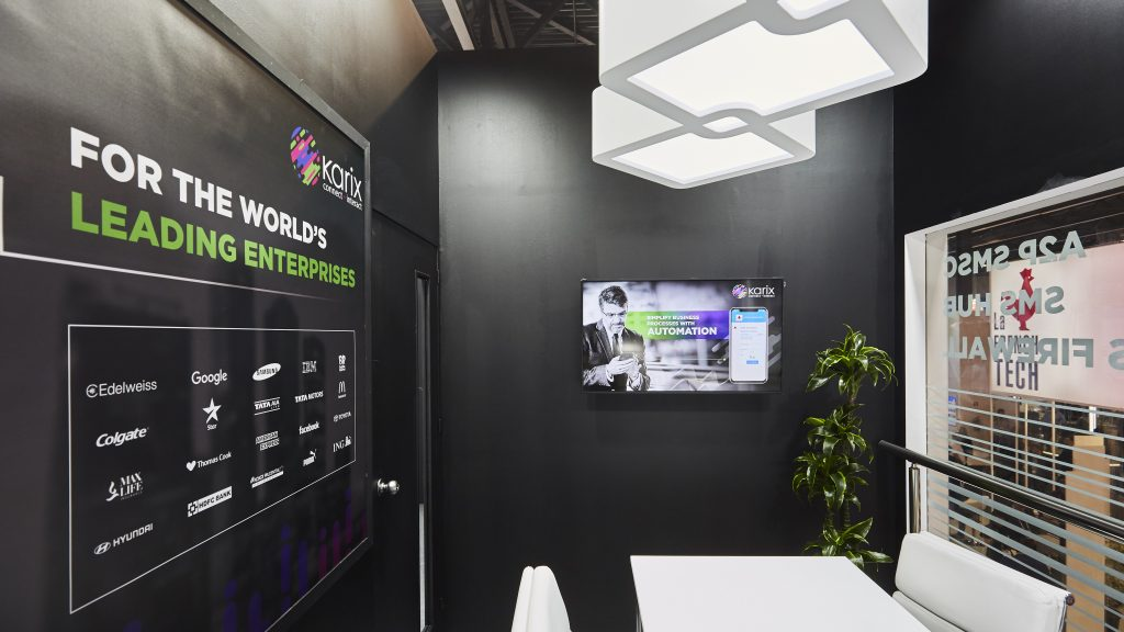 Karix stand at MWC 2019 -upstairs meeting room with glass walls and custom made elements