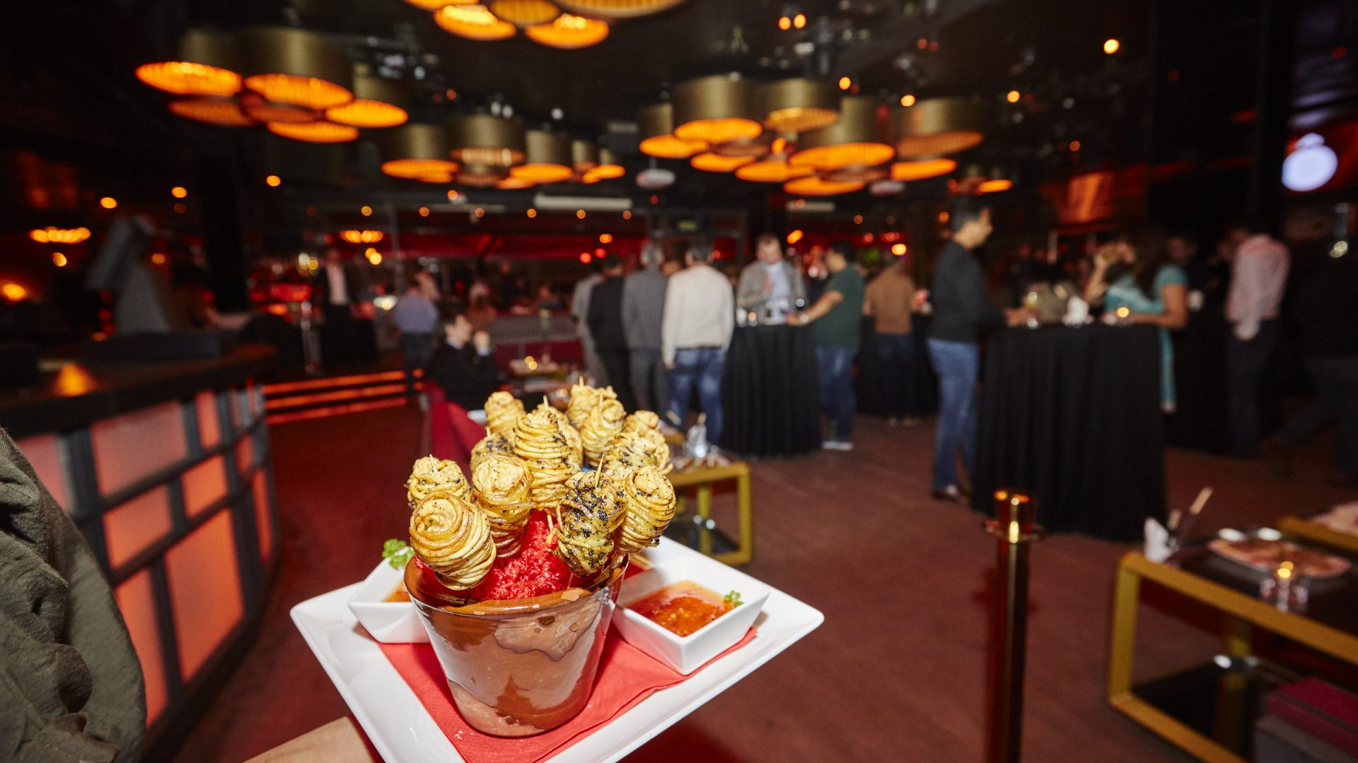 Snacks being served at the evening party for Karix' clients during MWC 2019