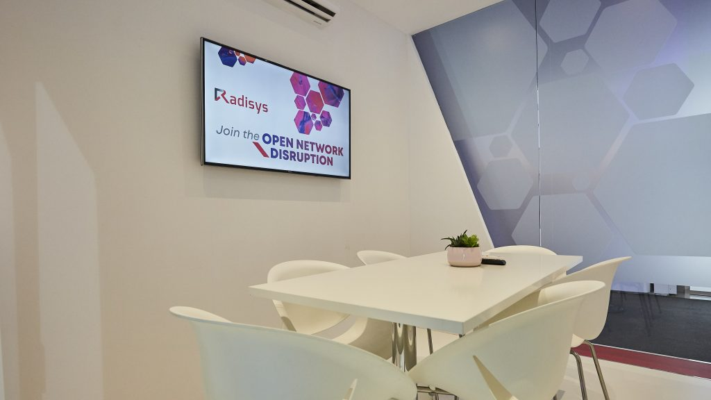 Radisys booth at MWC 2019 - luminous meeting room