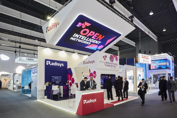 Radisys at MWC 2019 - exhibition booth with a big hanging LED screen