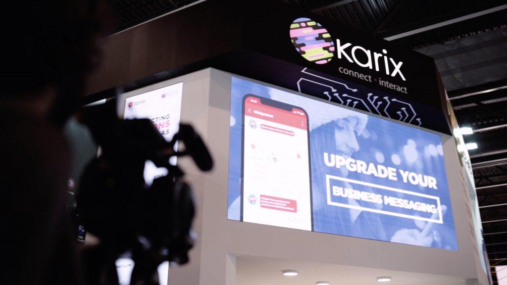 Karix booth at MWC 2019 - big, frontal LED screen