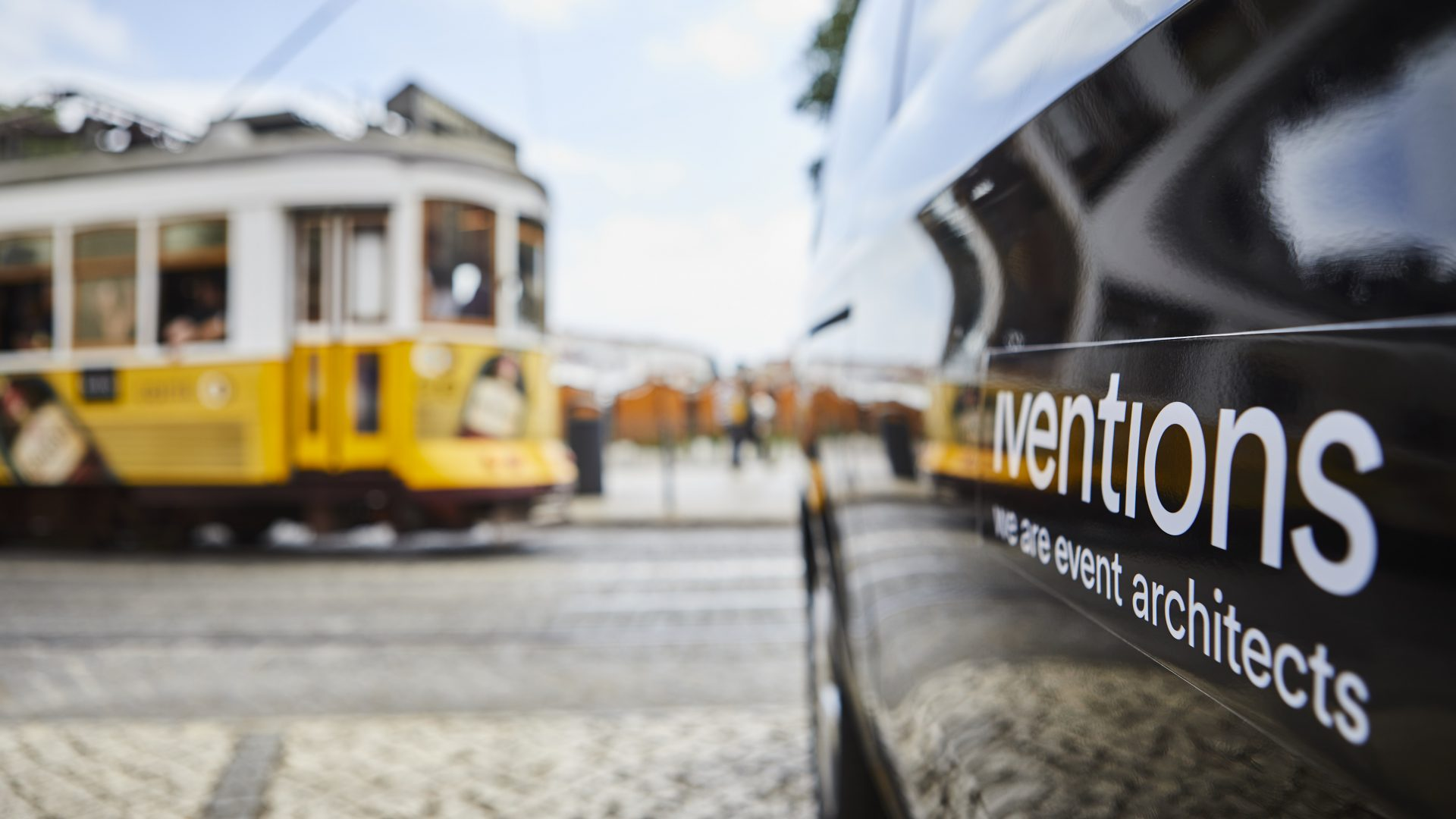 Yellow tramcar in Lisbon, Portugal
