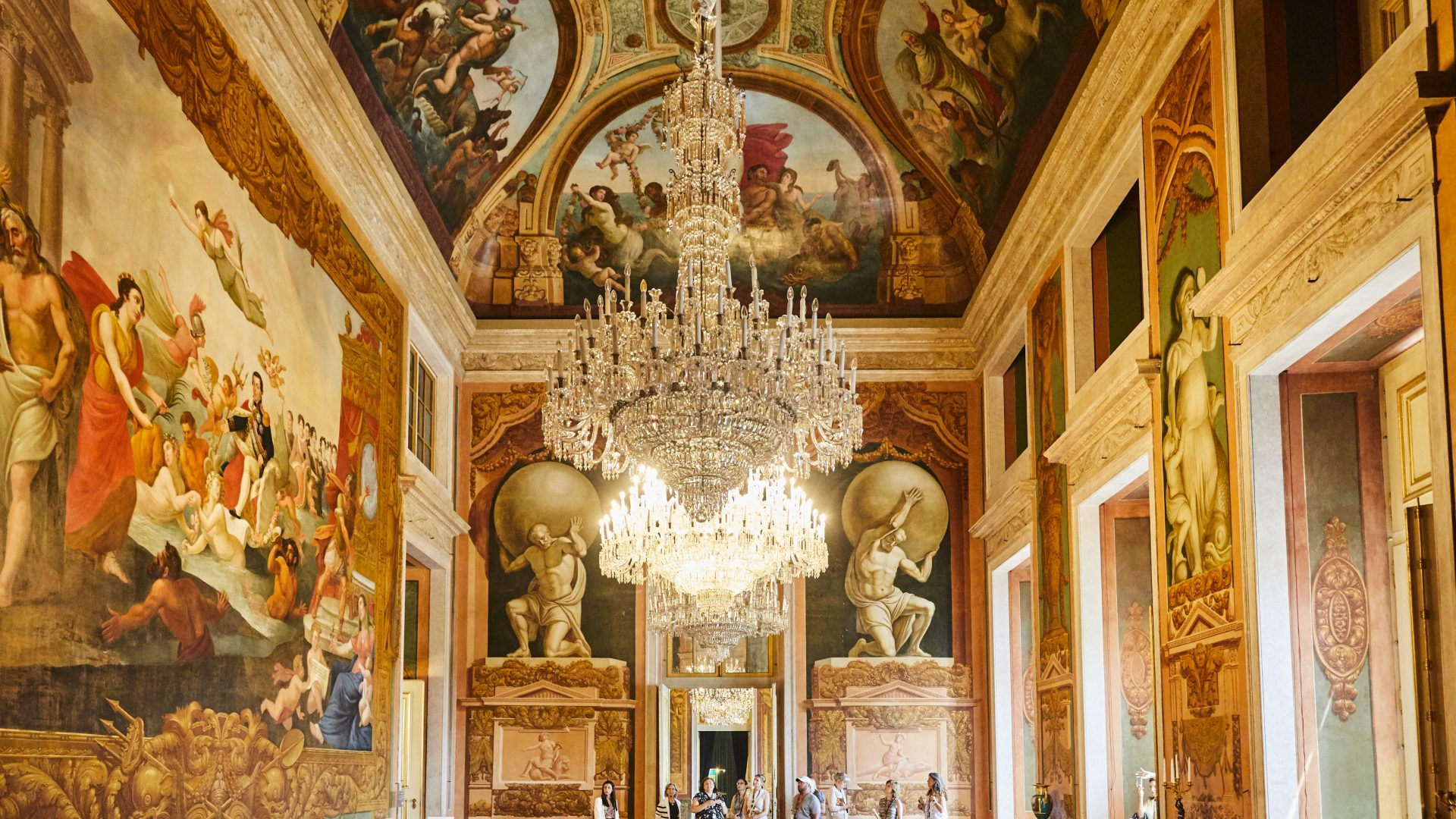 Lisbon, Portugal - palace interior with chandeliers and fresks