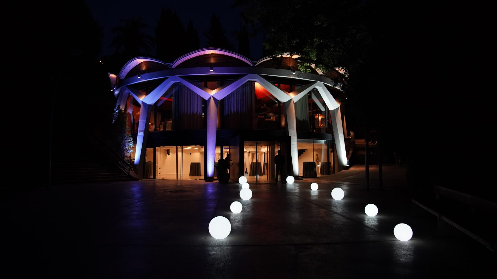 Barcelona venue at night with lights in Montjuic area