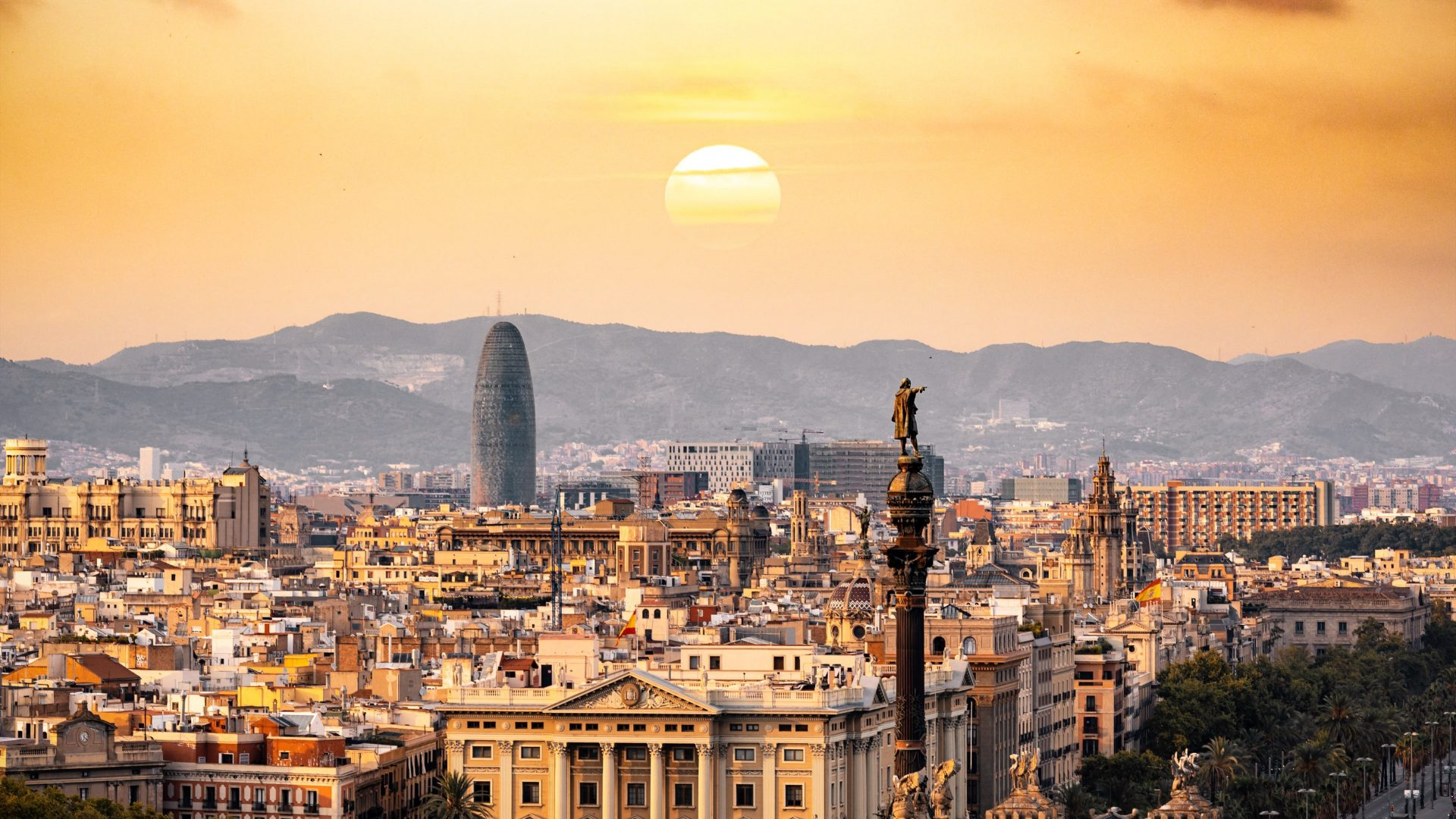 Barcelona skyline during sunset