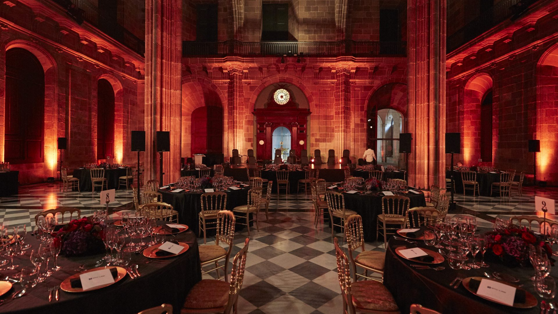 Gala dinner setup in a historical event venue in Barcelona