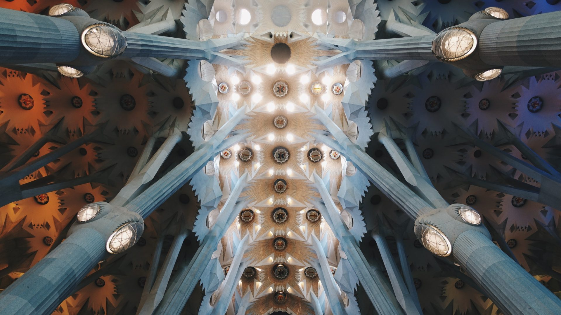 Ceiling of Sagrada Familia - architecture of Barcelona