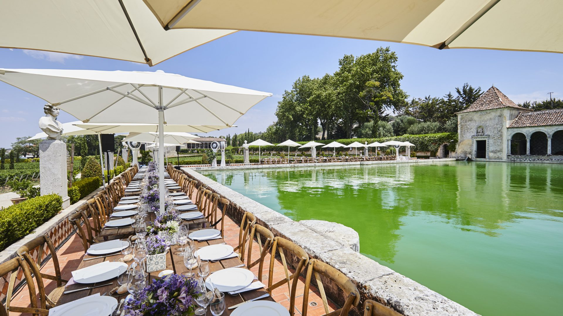 Corporate lunch setup - outdoor winery event venue in Lisbon