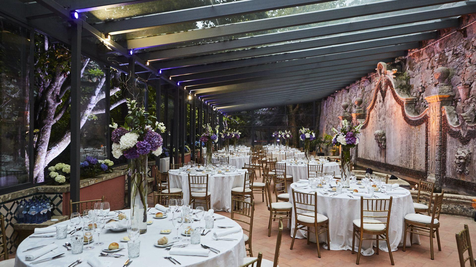 Gala dinner setup in event venue in Lisbon