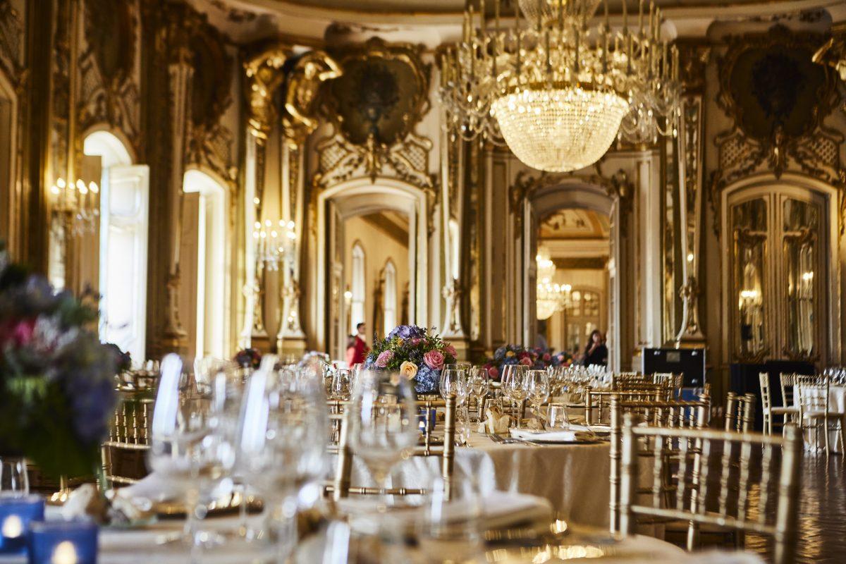 Gala dinner setup at historical venue in Lisbon